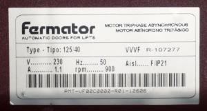 двигатель vvvf fermator tipo 125/40