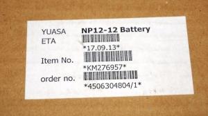 аккумуляторная батарея  yuasa np12-12                страна      япония          название       yuasa np12-12          напряжение, в       12          емкость, ач       12          длина, мм       151          ширина, мм       98          высота,